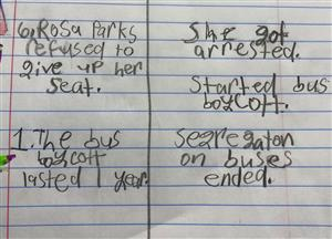 Example of a cause and effect chart about the arrest of Rosa Parks, written on notebook paper