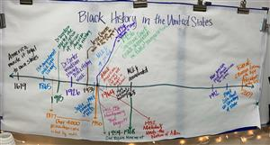 A timeline of Black history written out on butcher paper