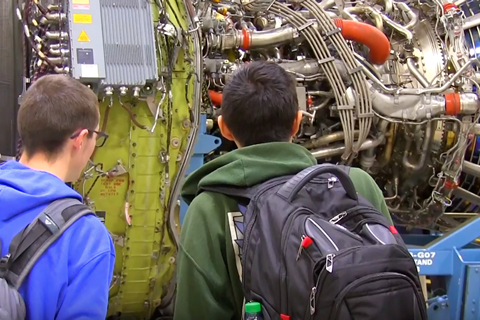 Shadle students examine jet engine